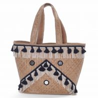 Straw basket bag black / white